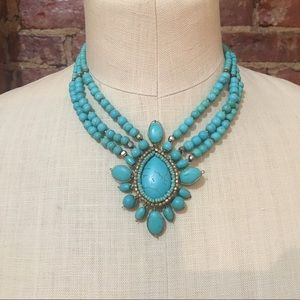 { Anthropologie } Turquoise and Brass Necklace